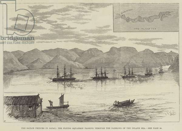 The Sailor Princes in Japan, the Flying Squadron passing through the Narrows of the Inland Sea (engraving)