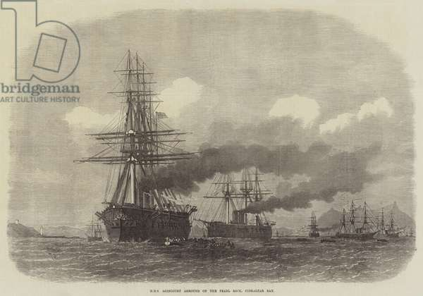 HMS Agincourt aground on the Pearl Rock, Gibraltar Bay (engraving)
