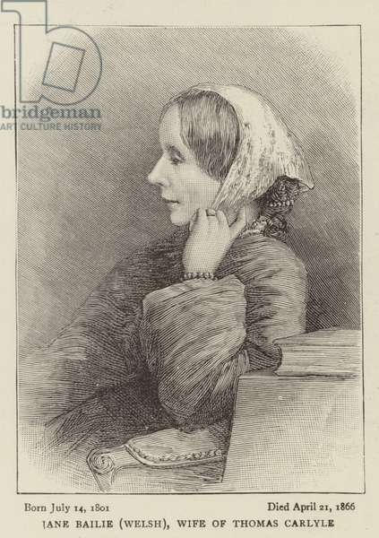 Jane Bailie (Welsh), Wife of Thomas Carlyle (engraving)