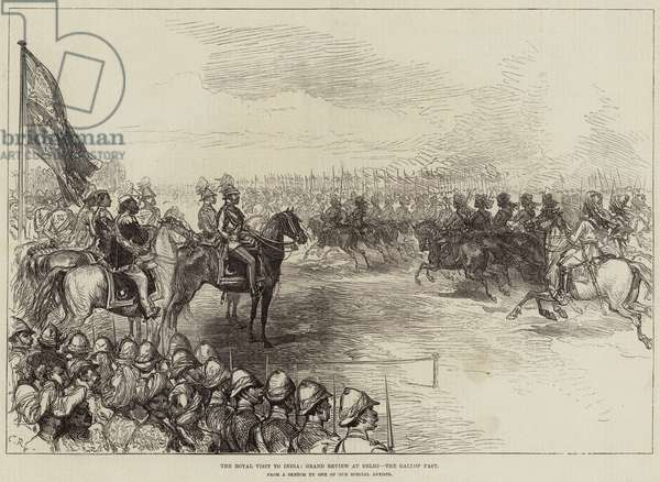 The Royal Visit to India, Grand Review at Delhi, the Gallop Past (engraving)