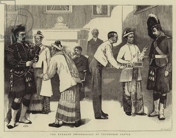 The Burmese Ambassadors at Edinburgh Castle (engraving)