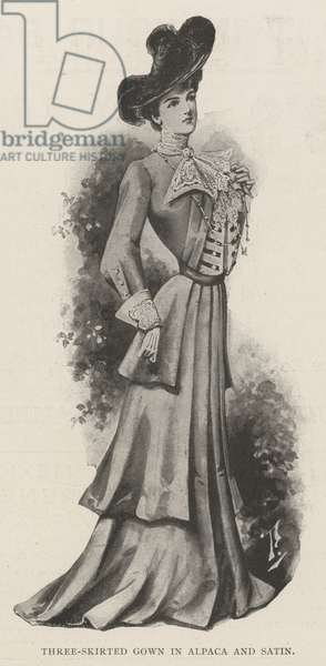 Three-Skirted Gown in Alpace and Satin (litho)