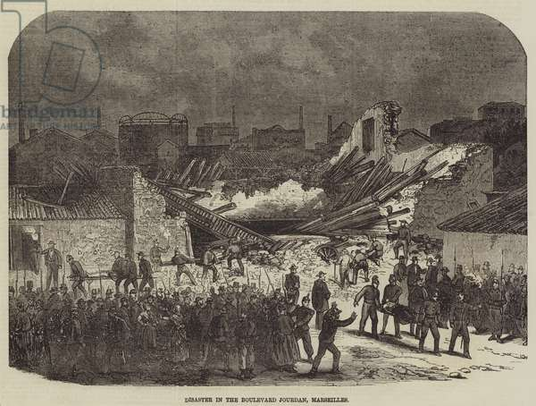 Disaster in the Boulevard Jourdan, Marseilles (engraving)