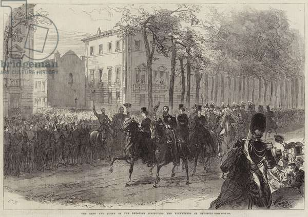 The King and Queen of the Belgians inspecting the Volunteers at Brussels (engraving)