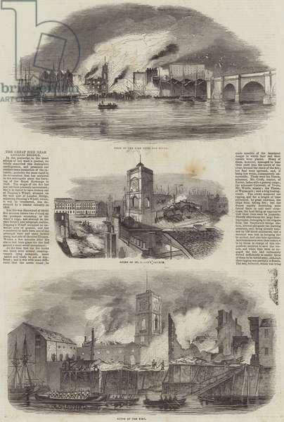 The Great Fire near London Bridge (engraving)