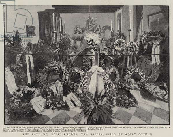 The Late Mr Cecil Rhodes, the Coffin lying at Groot Schuur (engraving)
