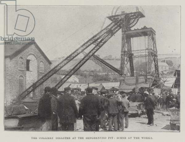 The Colliery Disaster at the Senghenydd Pit, Scene at the Works (b/w photo)