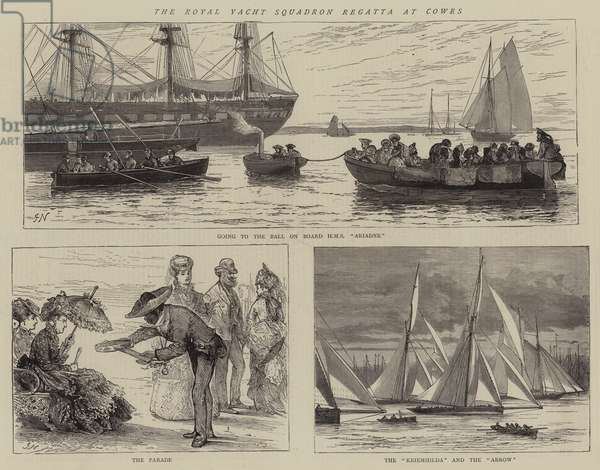The Royal Yacht Squadron Regatta at Cowes (engraving)