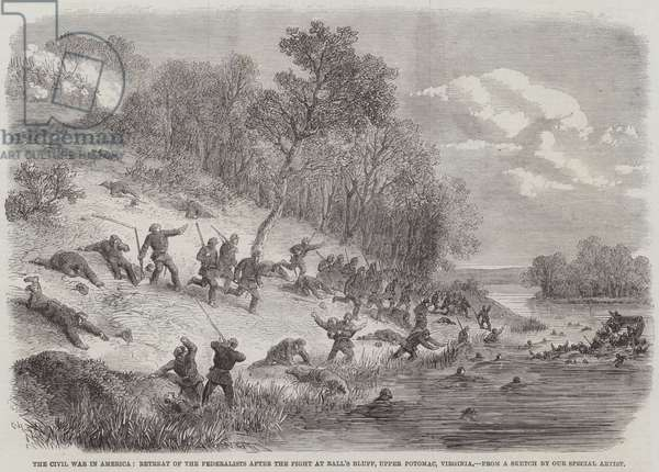 The Civil War in America, Retreat of the Federalists after the Fight at Ball's Bluff, Upper Potomac, Virginia (engraving)