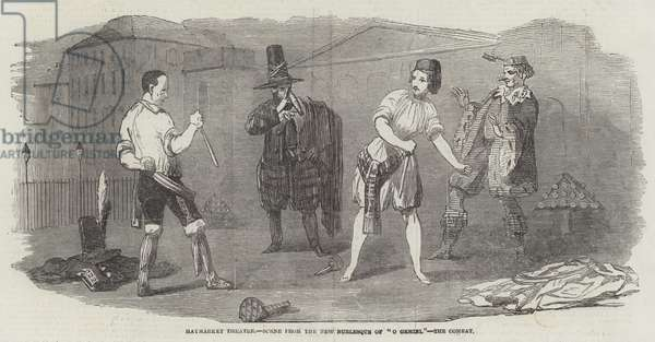 """Haymarket Theatre, Scene from the New Burlesque of """"O Gemini,"""" the Combat (engraving)"""