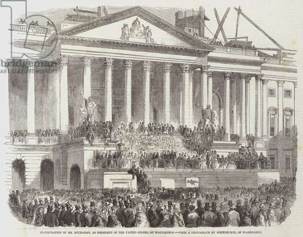Inauguration of Mr Buchanan, as President of the United States, at Washington (engraving)