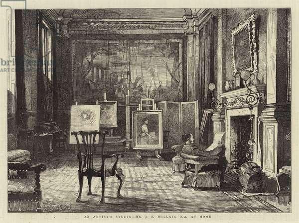 An Artist's Studio, Mr J E Millais, RA at Home (engraving)