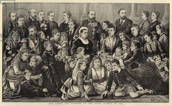 The Queen and Members of the Royal Family in 1877 (litho)