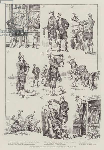 Amateurs with the Highland Bagpipes (engraving)