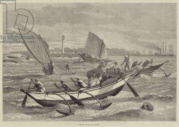 Ceylon Boats at Galle (engraving)