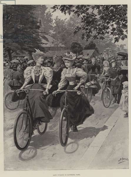 Lady Cyclists in Battersea Park (litho)