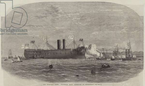 Our Iron-Clad Fleet, undocking HMS Agincourt at Birkenhead (engraving)