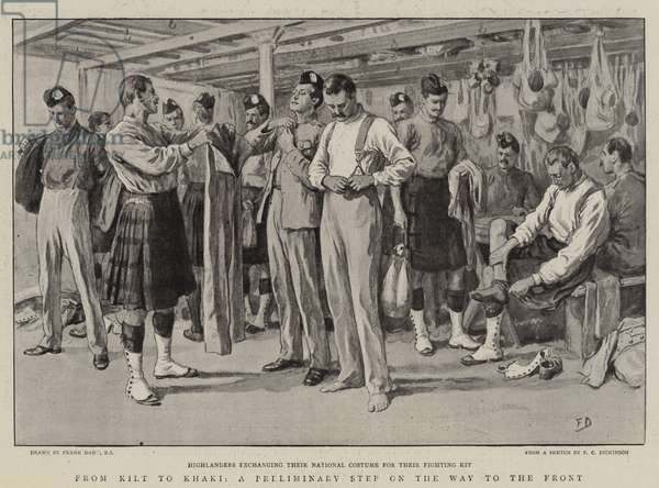 From Kilt to Khaki, a Preliminary Step on the Way to the Front (litho)