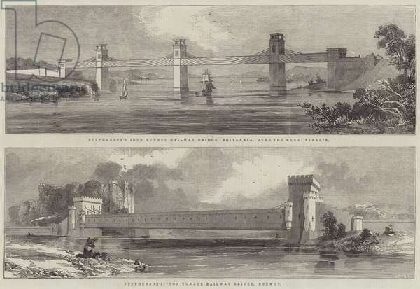 Stephenson's Iron Tunnel Railway Bridge (engraving)