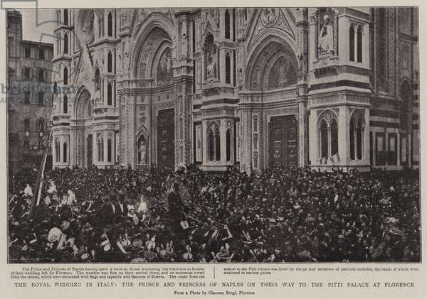 The Royal Wedding in Italy, the Prince and Princess of Naples on their Way to the Pitti Palace at Florence (b/w photo)