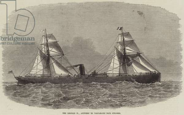 The Leopold II, Antwerp to Valparaiso Mail Steamer (engraving)