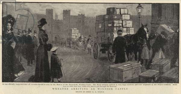 Wreaths arriving at Windsor Castle (engraving)