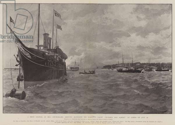 """A Privy Council at Sea, Councillors arriving alongside His Majesty's Yacht """"Victoria and Albert"""" at Cowes on 26 July (litho)"""