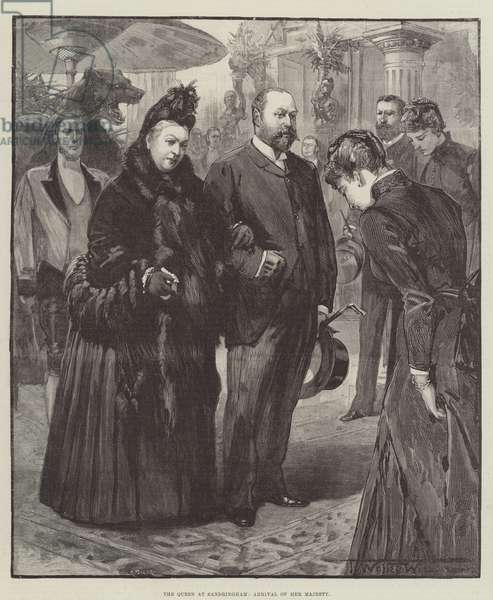 The Queen at Sandringham, Arrival of Her Majesty (engraving)