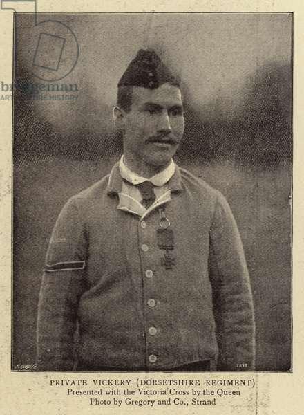 Private Vickery, Dorsetshire Regiment (b/w photo)