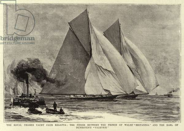 """The Royal Thames Yacht Club Regatta, the Finish between the Prince of Wales' """"Britannia"""" and the Earl of Dunraven's """"Valkyrie"""" (litho)"""