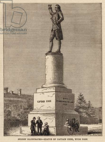 Sydney Illustrated, Statue of Captain Cook, Hyde Park (engraving)