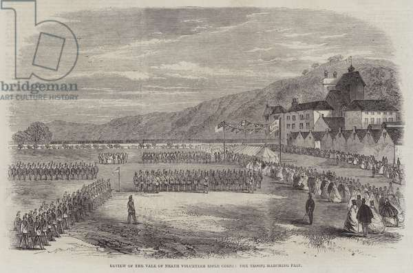 Review of the Vale of Neath Volunteer Rifle Corps, the Troops Marching Past (engraving)