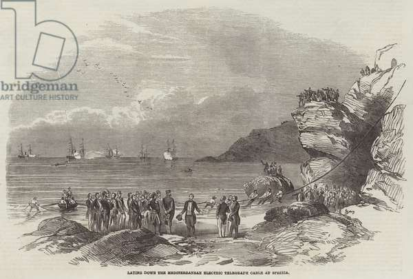 Laying down the Mediterranean Electric Telegraph Cable at Spezzia (engraving)