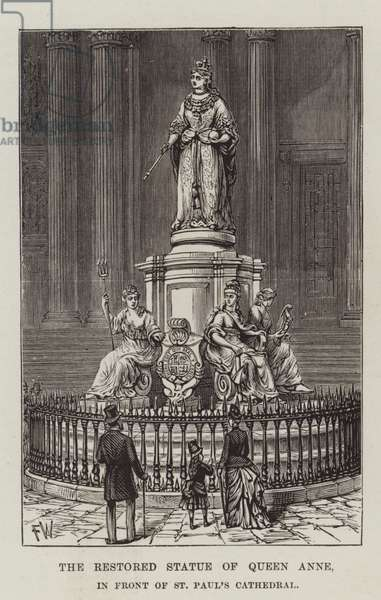 The Restored Statue of Queen Anne, in front of St Paul's Cathedral (engraving)