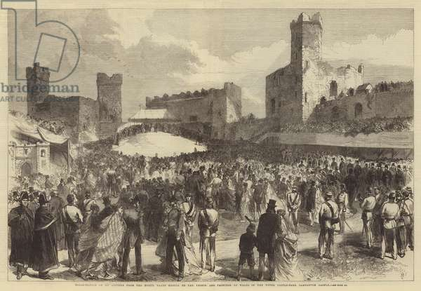 Presentation of an Address from the North Wales People to the Prince and Princess of Wales in the Upper Castle-Yard, Carnarvon Castle (engraving)