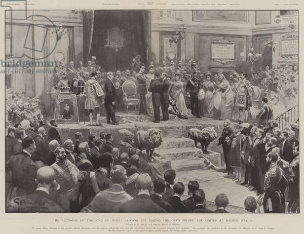 The Accession of the King of Spain, Alfonso XIII taking the Oath before the Cortes at Madrid, 17 May (litho)