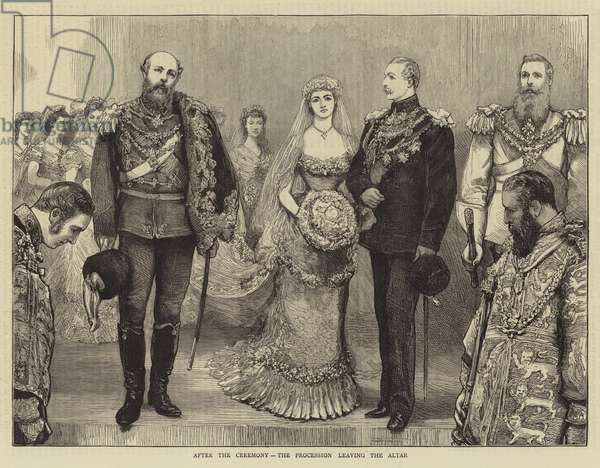 The Marriage of the Duke of Connaught, after the Ceremony, the Procession leaving the Altar (engraving)