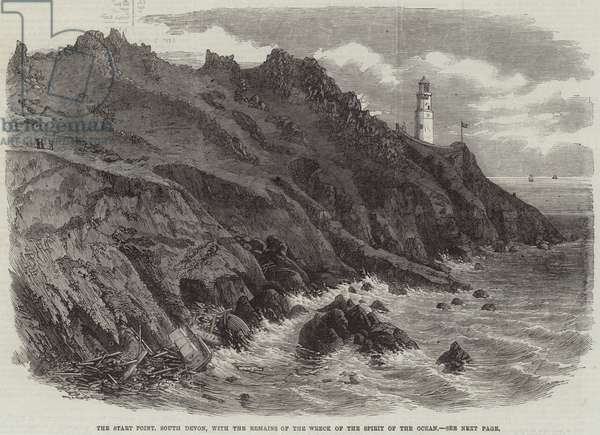 The Start Point, South Devon, with the Remains of the Wreck of the Spirit of the Ocean (engraving)