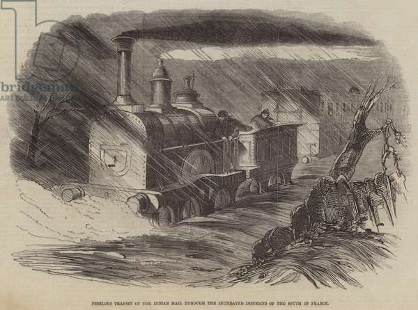 Perilous Transit of the Indian Mail through the Inundated Districts of the South of France (engraving)
