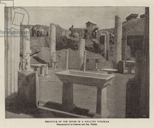 Peristyle of the House of a Wealthy Pompeian (b/w photo)