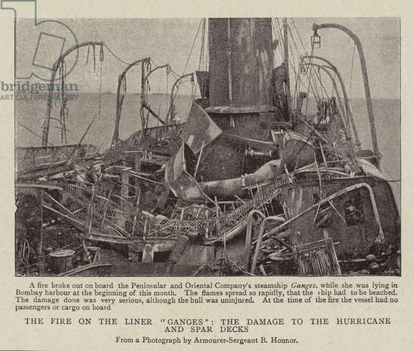"""The Fire on the Liner """"Ganges"""", the Damage to the Hurricane and Spar Decks (b/w photo)"""