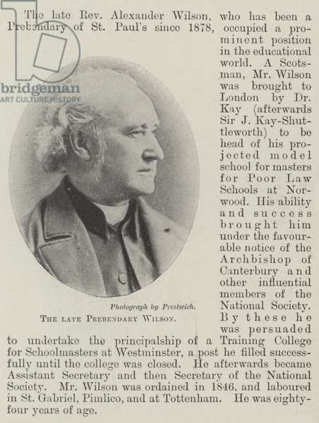 The late Prebendary Wilson (b/w photo)