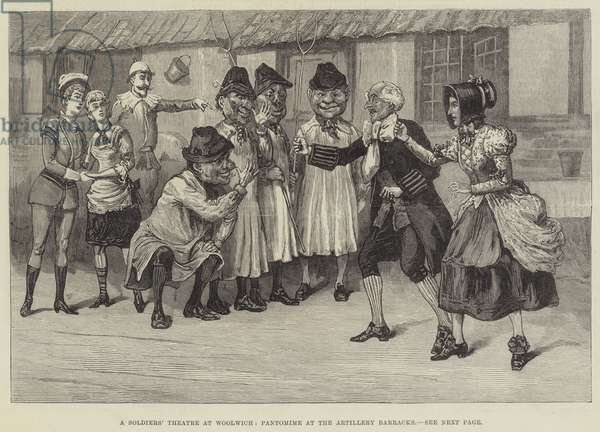 A Soldiers' Theatre at Woolwich, Pantomime at the Artillery Barracks (engraving)