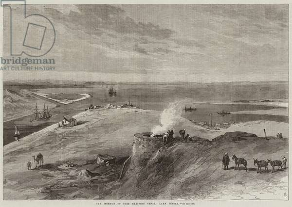 The Isthmus of Suez Maritime Canal, Lake Timsah (engraving)