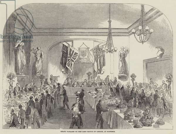 Grand Banquet to the Lord Mayor of London, at Hastings (engraving)