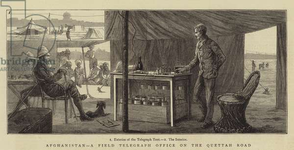 Afghanistan, a Field Telegraph Office on the Quettah Road (engraving)