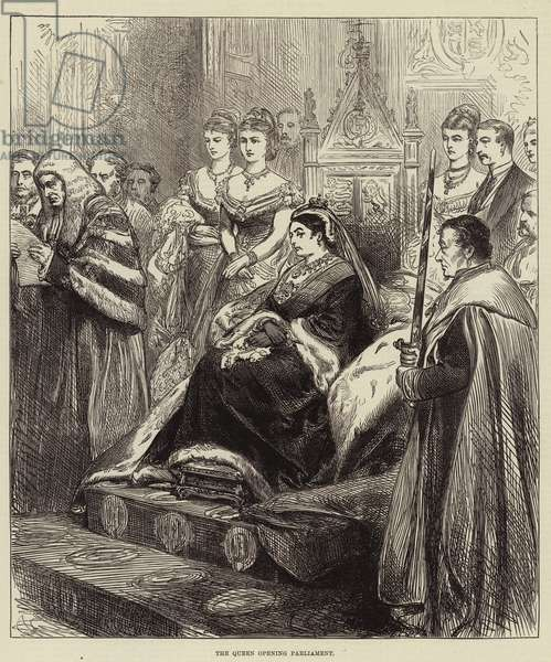 The Queen opening Parliament (engraving)