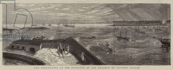 New Breakwater at the Entrance of the Harbour of Colombo, Ceylon (engraving)
