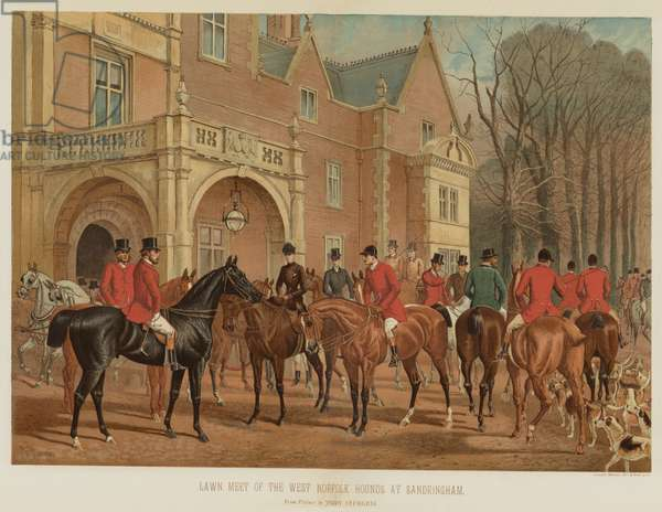 Lawn Meet of the West Norfolk Hounds at Sandringham (chromolitho)