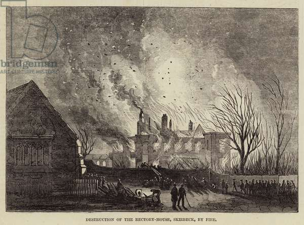 Destruction of the Rectory-House, Skirbeck, by Fire (engraving)